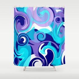 Finger Paint Swirls in Turquoise, Lavender, Purple, Navy Shower Curtain