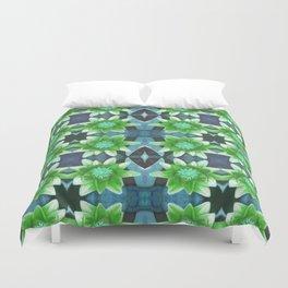 Blue Tropical Bromiliad Panel Duvet Cover