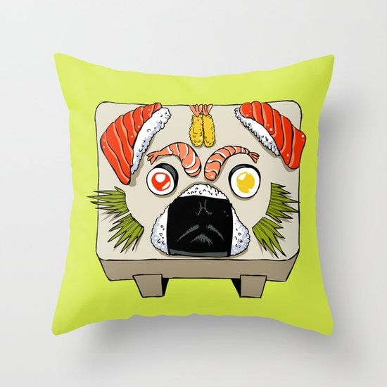 Pug Sushi  Throw Pillow