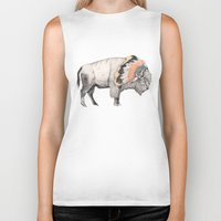 headdress Biker Tanks featuring White Bison by Sandra Dieckmann