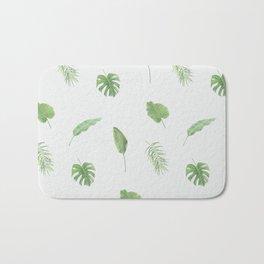 Tropical Leaves Botanic Print (Blue) Bath Mat