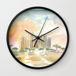 Castel del Monte Sunset Wall Clock