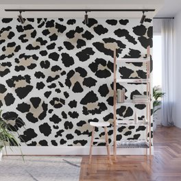Large Black, White & Tan Leopard Print  Wall Mural