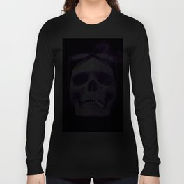 Skull Smoking Cigarette Purple Long Sleeve T-shirt