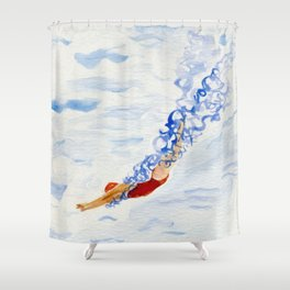 Swimmer - diving Shower Curtain