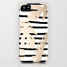 Simply Tropical White Gold Sands Palm Leaves on Stripes iPhone Case