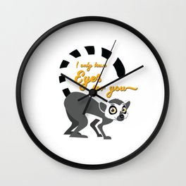 Unique & Funny Ringtail Cat Tshirt Design Eyes On You Wall Clock