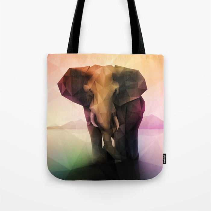Elephant (Low Poly Multi) Tote Bag