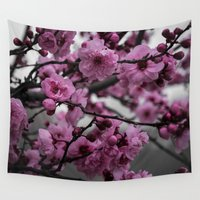 cherry blossom Wall Tapestries featuring Cherry Blossom by Michelle McConnell