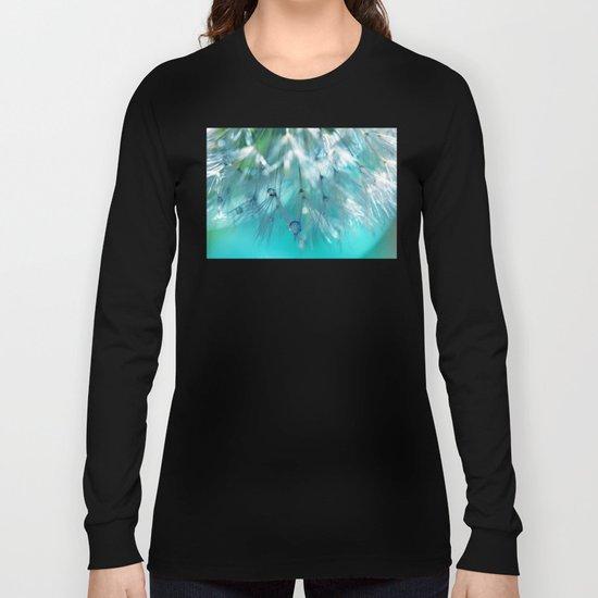 Turquoise Dandelion Macro Long Sleeve T-shirt