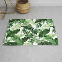 Green leaf watercolor pattern Rug