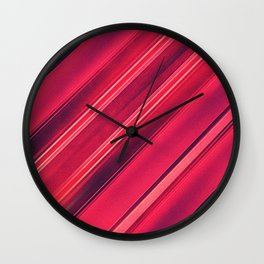 Moder Red / Black Stripe  Abstract Stream Lines Textuer Design Wall Clock