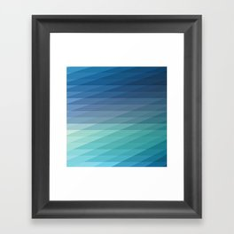 Fig. 042 Blue Geometric Diagonal Stripes Framed Art Print