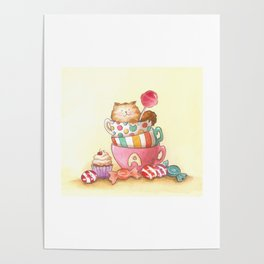 Cups, candy and a cat Poster