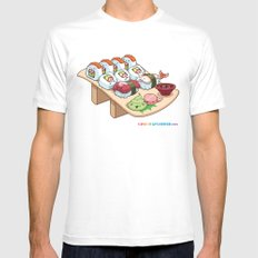 Kawaii California Roll and Sushi Shrimp and Tuna Nigiri MEDIUM Mens Fitted Tee White