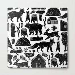 Forest Critters Metal Print