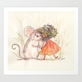 Thumbelina and the Mouse! Art Print