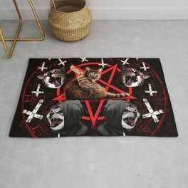 satanic cat pentagram death black metal band exorcist Rug