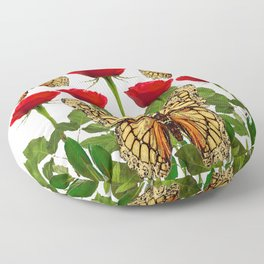 RED ROSES  & MONARCH BUTTERFLIES ART Floor Pillow