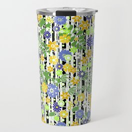Yellow green floral pattern on a striped background. Travel Mug
