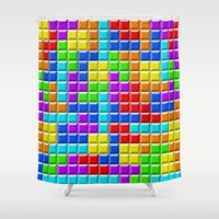 tetris Shower Curtains featuring Tetris by Rebekhaart