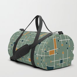 Intersecting Lines in Olive, Blue-green and Orange Duffle Bag