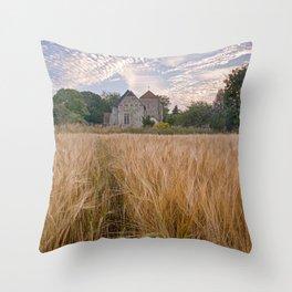 Wheatfields To The Church Throw Pillow