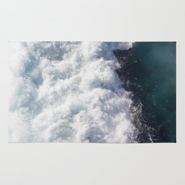 sea - midnight blue wave Rug