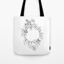 White Floral Circle Tote Bag
