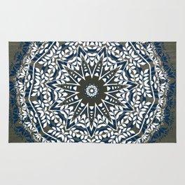 BLUE, GREY AND WHITE MANDALA  Rug