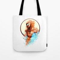 spider man Tote Bags featuring Spider-Man by Rene Alberto