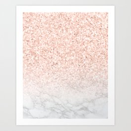 Blush Pink Sparkles on White and Gray Marble III Kunstdrucke