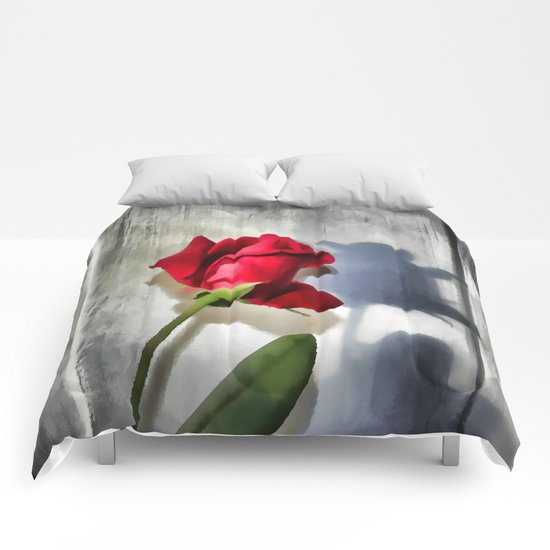 Red Rose Bud Shadow Comforters