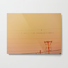 Birds on a wire at sunrise   Minimalist landscape photography Metal Print