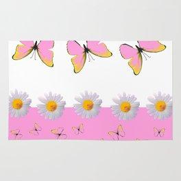 MODERN ART PINK BUTTERFLIES & WHITE DAISIES Rug