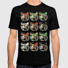 Folded Brompton Bicycle SMALL Black Mens Fitted Tee