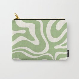 Modern Liquid Swirl Abstract Pattern in Light Sage Green and Cream Carry-All Pouch