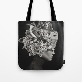 Lady with Birds(portrait) Tote Bag