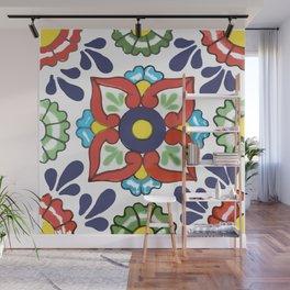 Talavera Mexican Green Floral Wall Mural