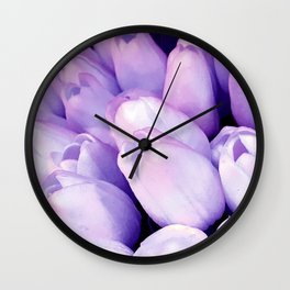 Lilac-Pink Pastel Tulip Buds Close-Up View Wall Clock
