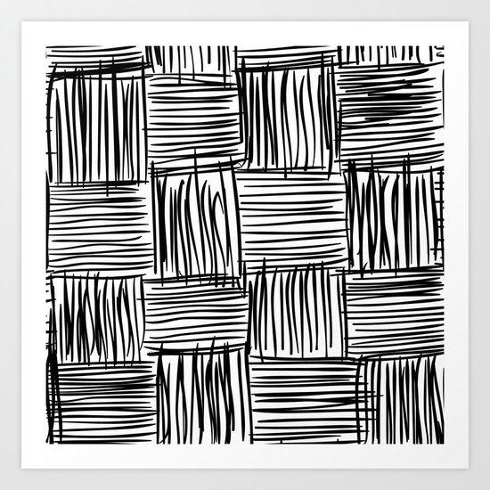 Modern Square Black on White Art Print