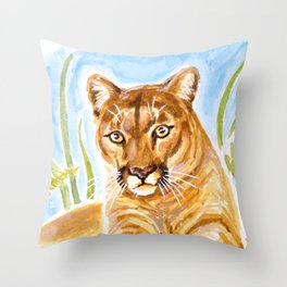 Reise Cougar on Hilltop Throw Pillow