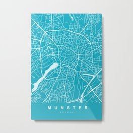 MUNSTER City Map - Germany | Aqua | More Colors, Review My Collections Metal Print