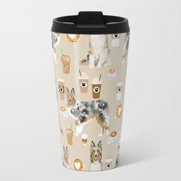 Shetland Sheepdog blue merle sheltie dog breed coffee pattern dogs portrait sheepdogs art Travel Mug