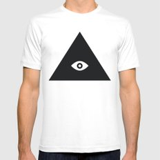 Tri-Eye White Mens Fitted Tee MEDIUM