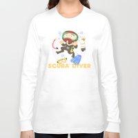 scuba Long Sleeve T-shirts featuring Scuba dive by Alapapaju