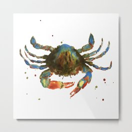 Crab art, coastal art, watercolor crab, crab pillow, beach house pillow Metal Print