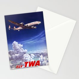 Across the US and overseas Travel Poster Stationery Cards