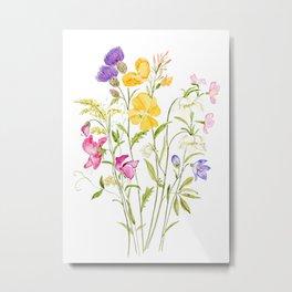 yellow pink white and  purple windflowers 2020 Metal Print