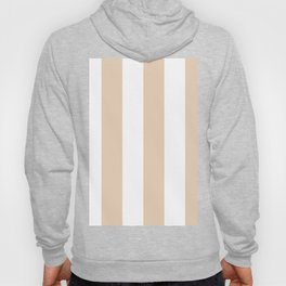 Wide Vertical Stripes - White and Pastel Brown Hoody